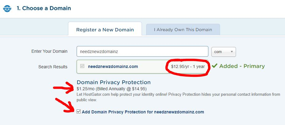 Hostgator domain register